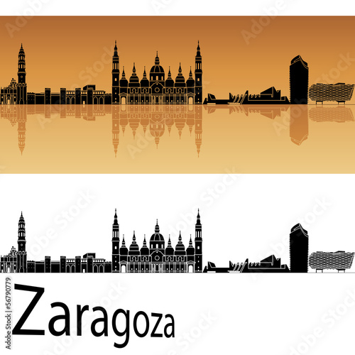 Zaragoza skyline in orange background