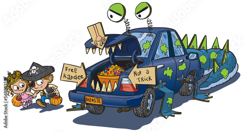 Canvas Print Two Kids Trunk or Treat on Halloween Clip Art