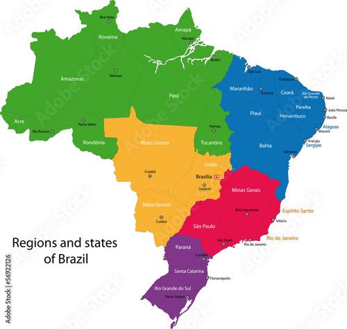 Canvas Print Colorful Brazil map