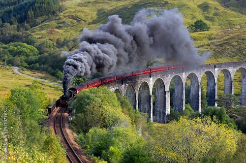 Wallpaper Mural The Jacobite train Glenfinnan viaduct Highland Scotland
