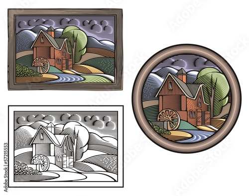 Countrylife and Farming Illustration in Woodcut Style Fototapeta
