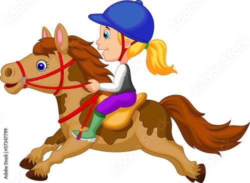 Fotografia Little girl riding a pony horse