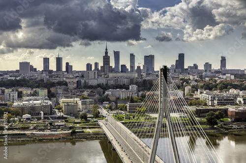 Warsaw skyline behind the bridge