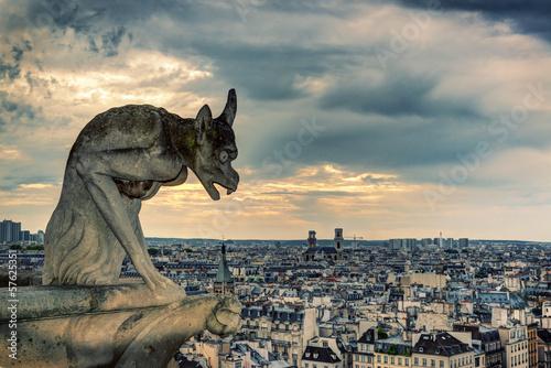 Fototapeta Gargoyle of Notre Dame de Paris overlooking city, Paris, France