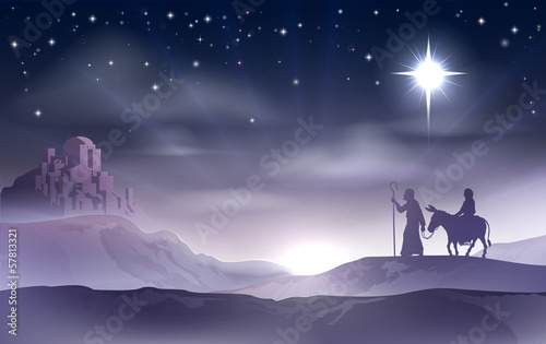 Wallpaper Mural Mary and Joseph Nativity Christmas Illustration