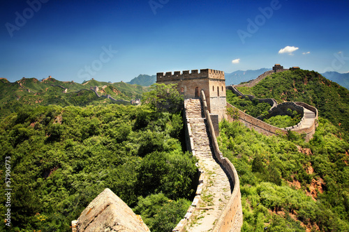 The Great Wall of China near Jinshanling on a sunny summer day Fototapet