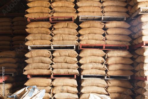 Wallpaper Mural Stack hemp sacks of rice