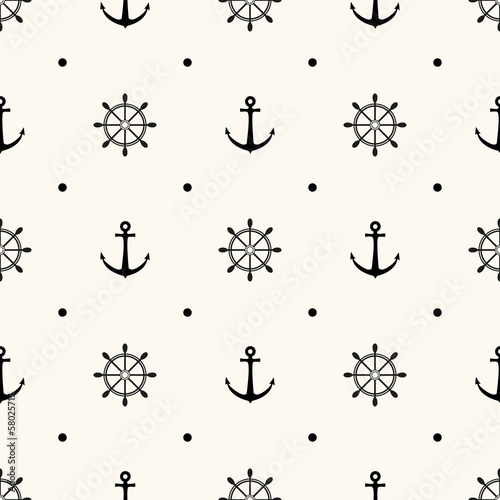 Obraz na płótnie Vector seamless nautical pattern with anchors and steering wheels