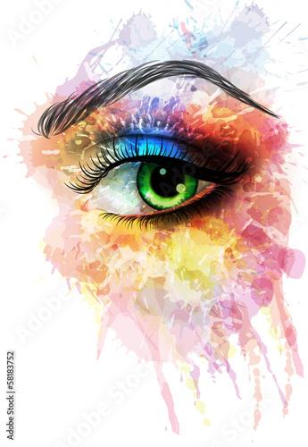 Oko wykonane z kolorowych plam