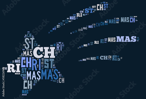 Canvas Print Shooting Christmas star word cloud