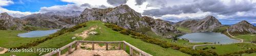 Panoramic of the Covadonga lakes, Enol and Ercina in Asturias