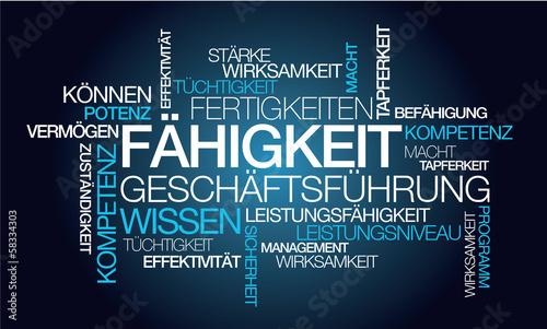 Leinwand Poster Fähigkeit Geschäftsführung Wissen blau tag cloud Worte