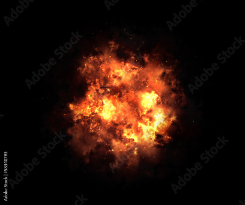 Canvas Print bright explosion flash on a black backgrounds. fire burst