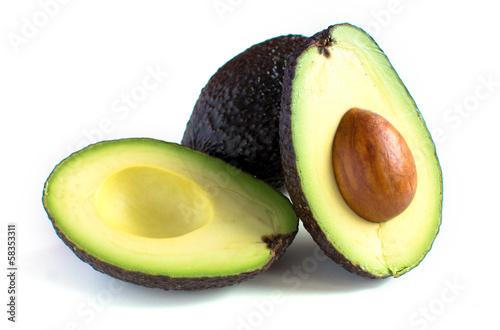 Foto A fresh avocado cut in half