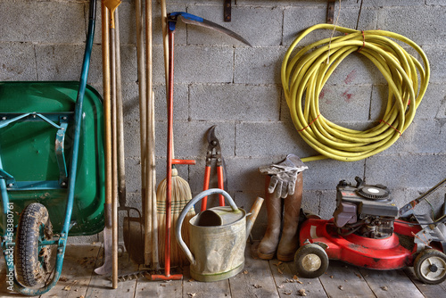 garden shed with all the tools in the gardener Fototapeta