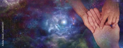 Palmistry website header on night sky, soft blur