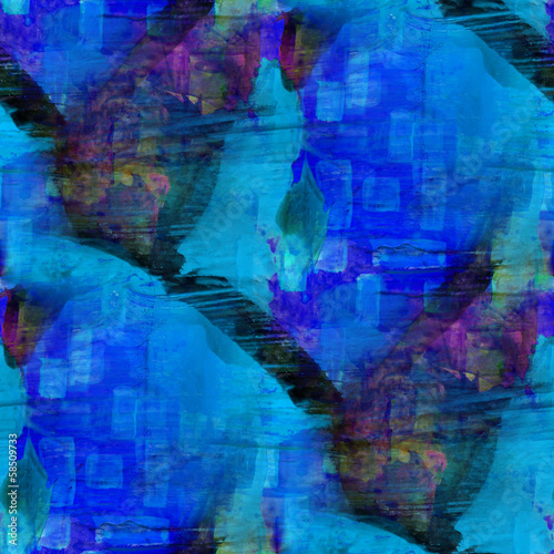 seamless cubism abstract blue art Picasso texture watercolor wal #58509733