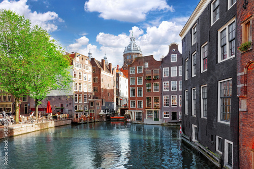 Amsterdam with canal in the downtown,Holland. Fototapeta
