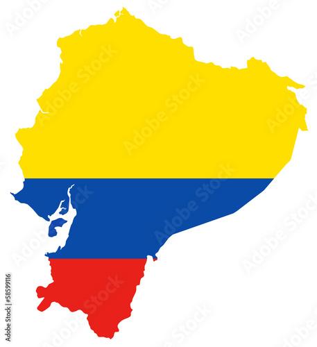 Photo Karte von Ecuador in den Flaggenfarben