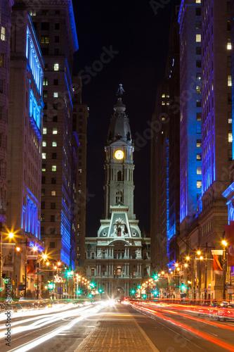 Foto Philadelphia city hall  by night , Pennsylvania USA