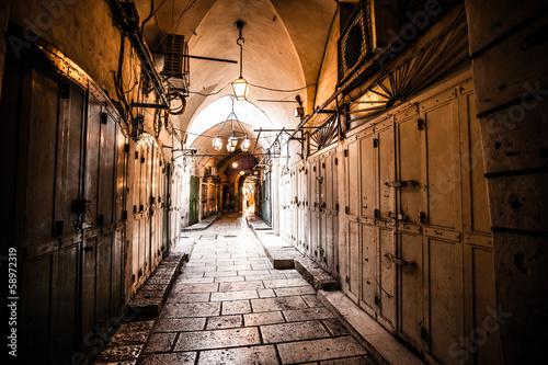 Fototapeta Starożytna aleja w dzielnicy żydowskiej, Jerozolima, Izrael do salonu