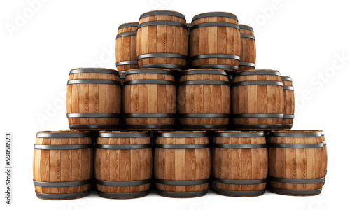 Fotografering Stack of barrels