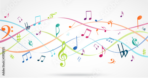 Abstract Background with Colorful Music notes #59128133