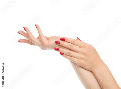 Canvas Print Woman hands with manicured red nails