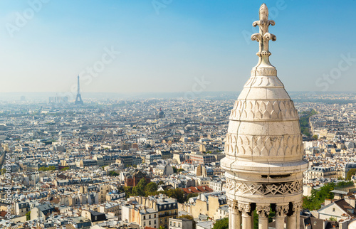 Canvas Print View of Paris from Sacre Coeur basilica, France