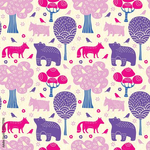 Forest animals seamless pattern