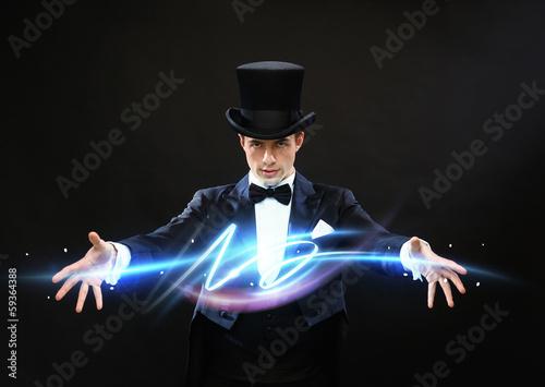 Wallpaper Mural magician in top hat showing trick