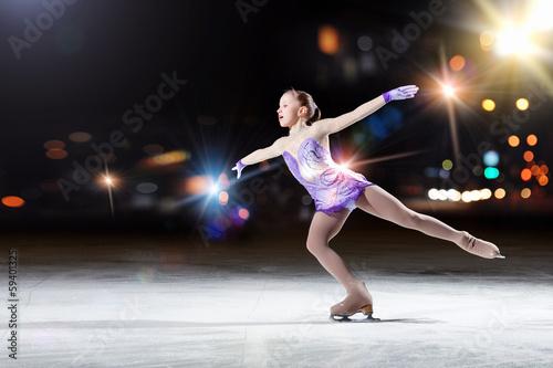 Obraz na plátně Little girl figure skating