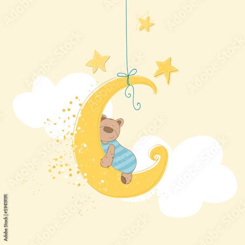 Plakat Śpiący Miś na sierpie księżyca