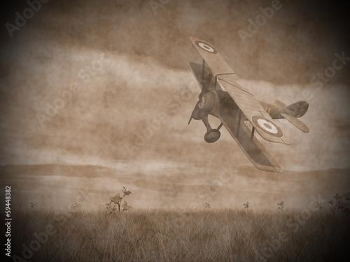 Photo Biplane flying - 3D render