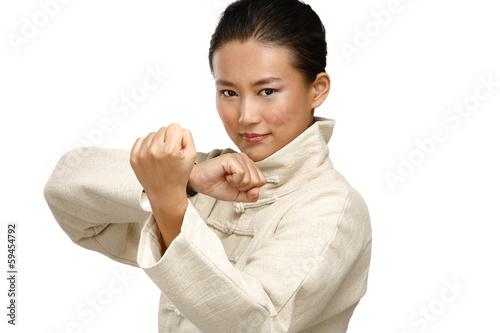 Fotografia Beautiful asian woman make kung fu gesture