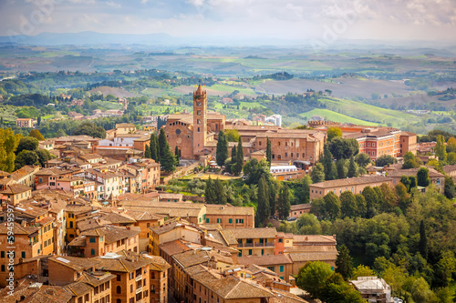 Canvas Print Aerial view over city of Siena