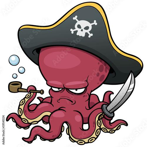 Fotografia vector illustration of Cartoon pirate octopus