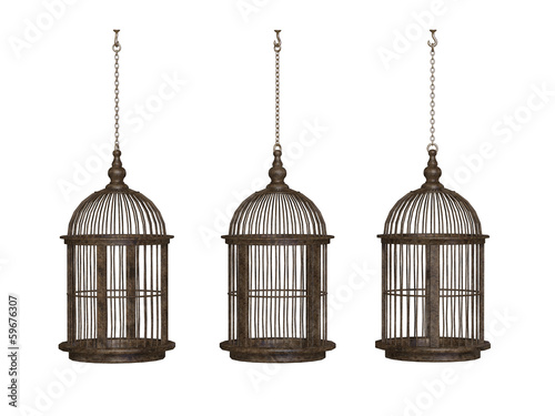 Leinwand Poster wooden ancient bird cage