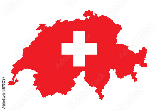Wallpaper Mural flag and map of Switzerland