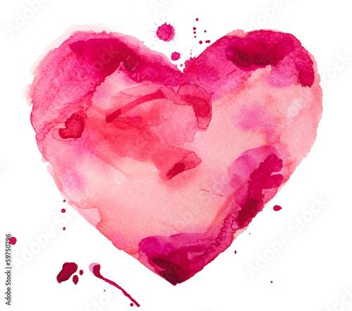 serce akwareli. Pojęcie - miłość, związek, sztuka, malarstwo
