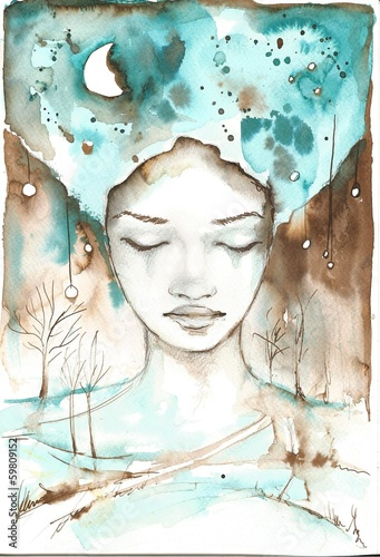 fabulous illustration of an abstract portrait of a girl.