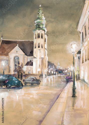 St. Andrew's Church  by night - Krakow (Poland) #59928179