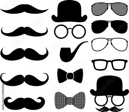 Photo black moustaches silhouettes