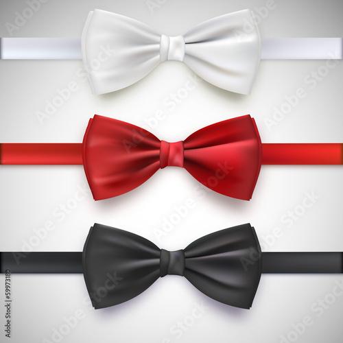 Fotografia Realistic white, black and red bow tie