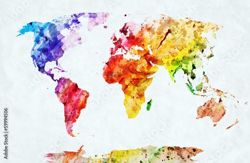 Fototapeta Mapa świata namalowana akwarelami na ścianę