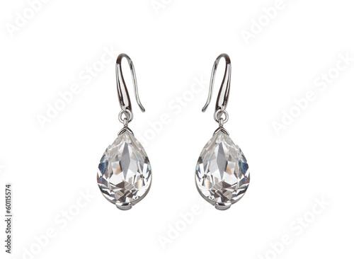 Stampa su Tela Pair of diamond earrings, isolated on white