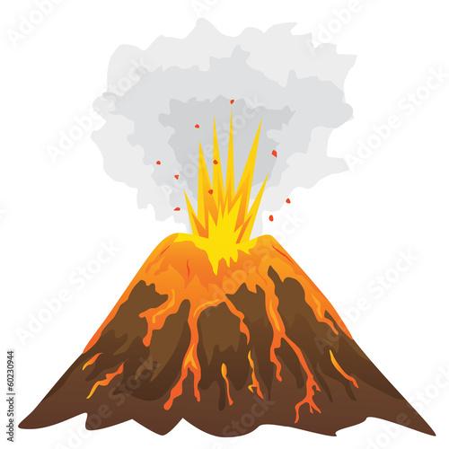Fotografia Volcano isolated on white background (vector)