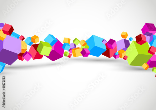 Colorful cubes 3D background