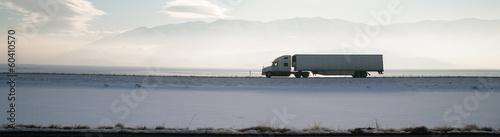 Photo Long Haul Trucker White Light Polution Salt Flats Utah Highway