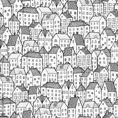 Plakat z czarnobiałym wzorem miasta
